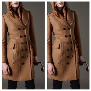 Burberry London wool cashmere military style coat